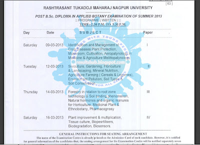 RTMNU Post B.Sc. Diploma in Botany Summer 2013 Timetable