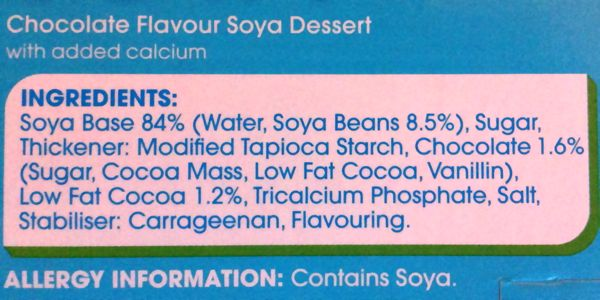 Delamere Dairy Chocolate Soya Dessert Ingredients (vegan)