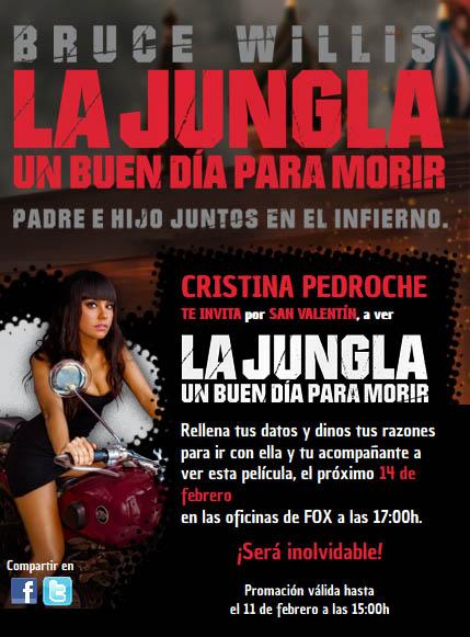 Cristina Pedroche concurso para conseguir invitaciones preestreno La jungla de cristal 5.