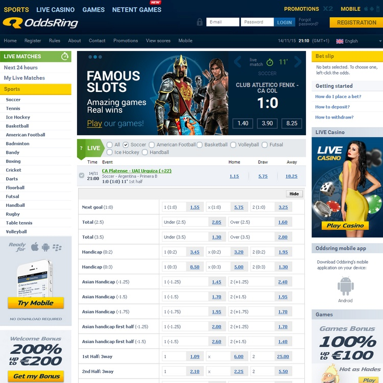 Oddsring Live Betting Offers