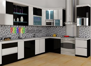 Kitchenset Pelangi Desain Interior Kitchen Set Nuansa Warna Hitam Putih