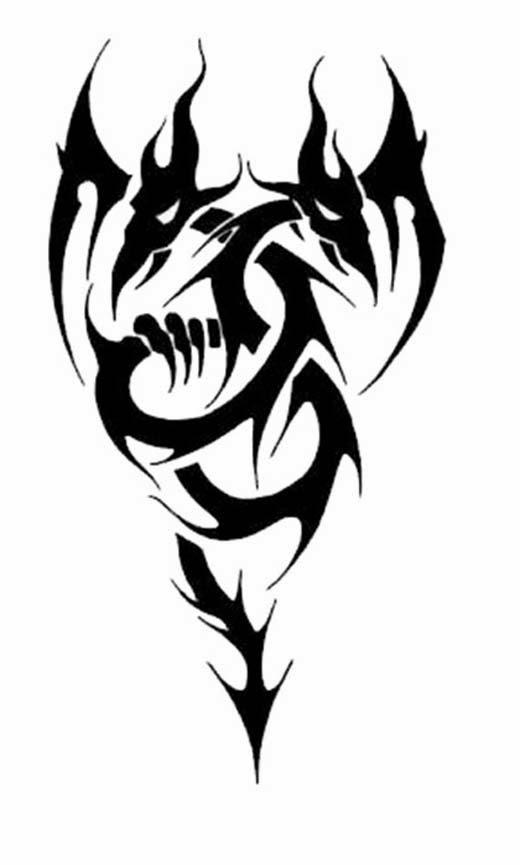 Two heads dragon tattoo stencil