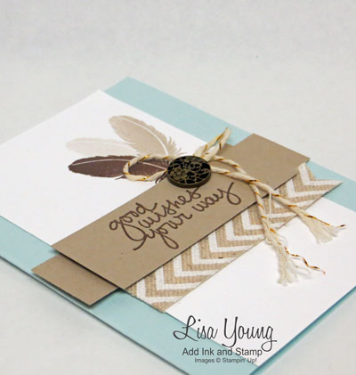 Made with Lovely Amazing You Photopolymer stamp set. Stampin' Up! Clean and simple card with feathers. Masculine thank you card. Made by Lisa Young, Add Ink and Stamp