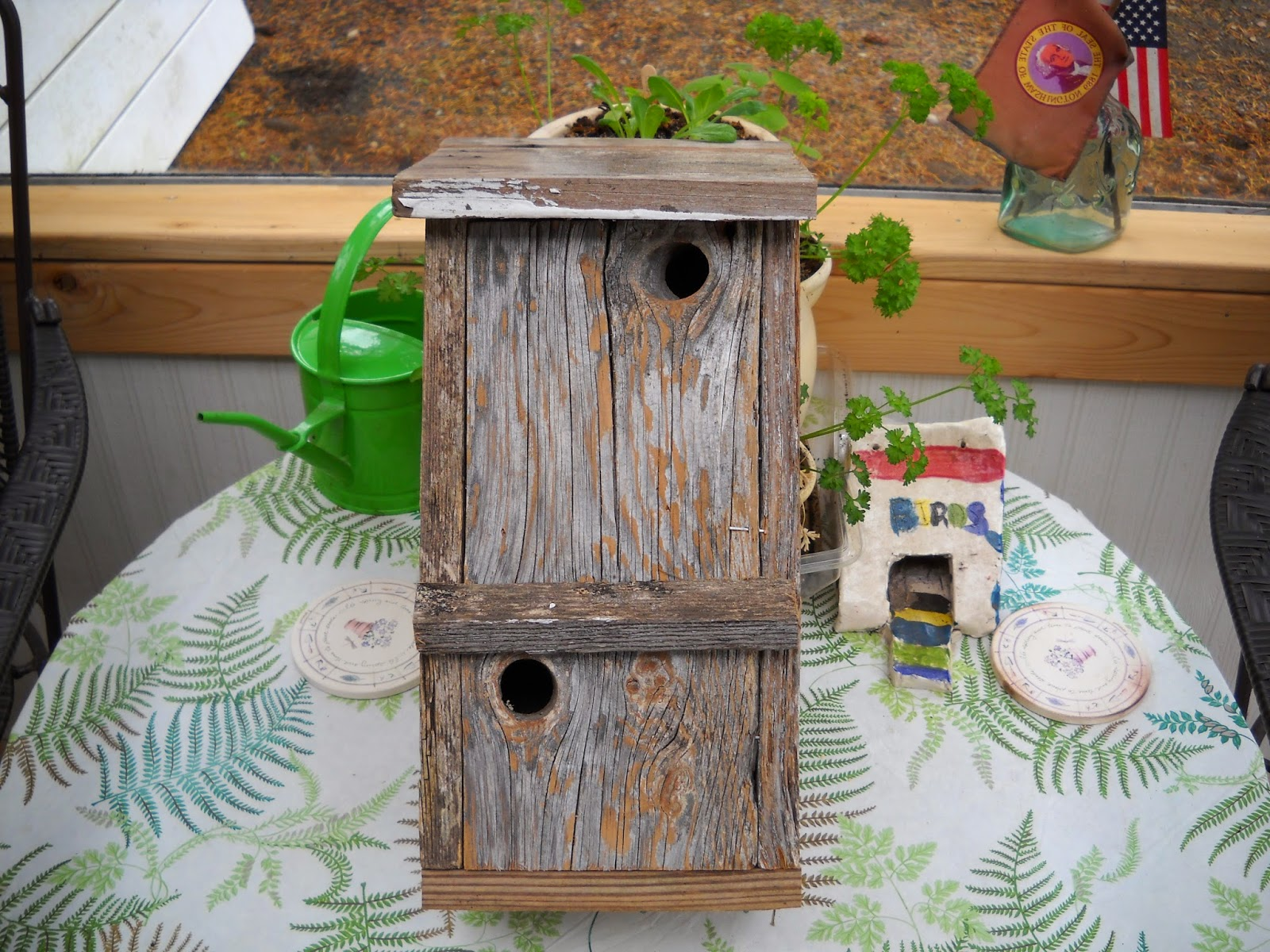 Unique Planters For Sale Part - 17: RUSTIC BARN WOOD BIRDHOUSE: $20.00 This Is A Unique, One Of A Kind Bird  House That Is Made Of Old Barn Wood U0026 Has 2 Knot Holes For Openings.