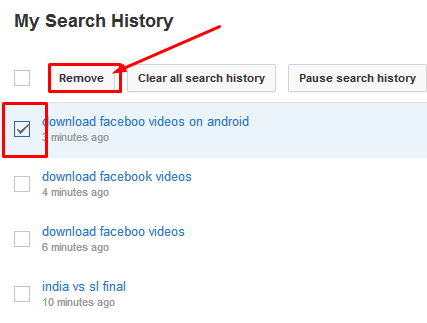 Removing search history on youtube