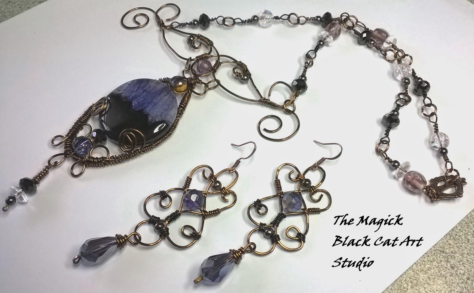 THE MAGICK BLACK CAT ~ Artisan Wire Wrapped Jewelry, Gemstone Jewelry