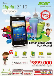 Acer Liquid Z110 Ponsel Android 3G Harga 899 Ribu