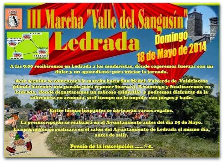 """18/mayo. III Marcha """"Valle del Sangusín"""". Ledrada"""