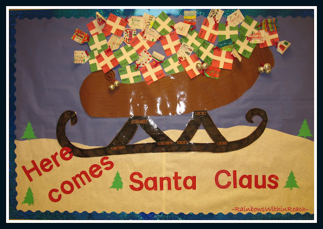 photo of: Santa Claus Sleigh Bulletin Board (Christmas Bulletin Board RoundUP via RainbowsWithinReach)