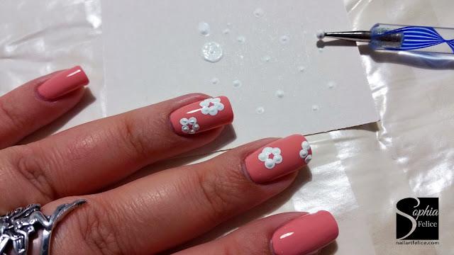 tutorial nail art fiore di primavera 01