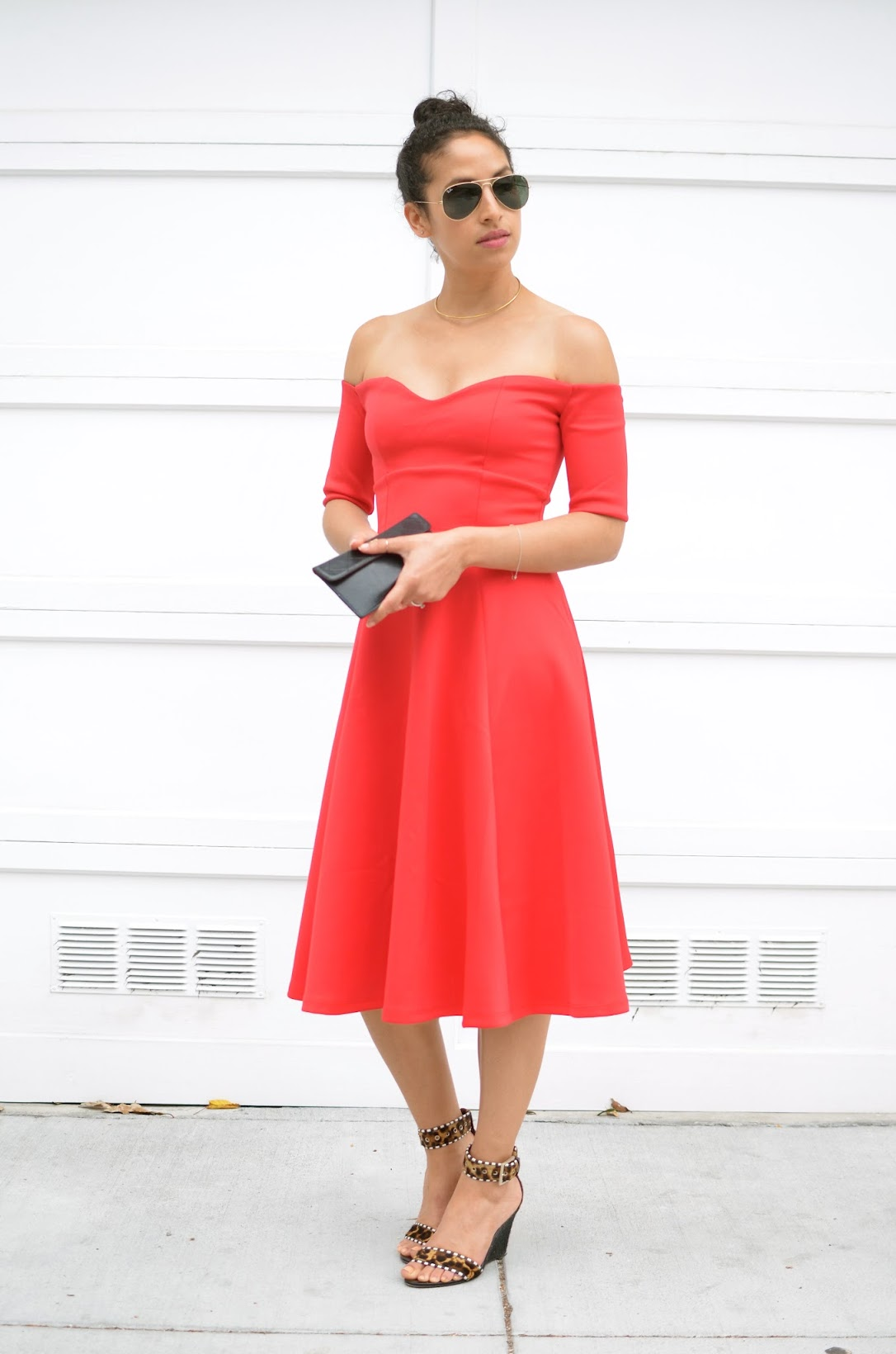 ASOS, Asos dress, Bardot dress, off the shoulder dress, Brian Atwood wedges, aviator sunglasses
