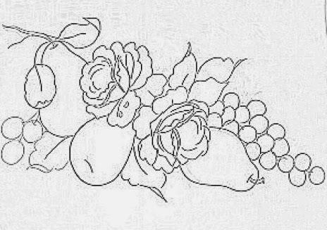 desenho para pintar peras com rosas, uvas e cerejas