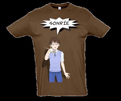 "Camiseta manga corta para hombre ""Sonríe"" color marrón"