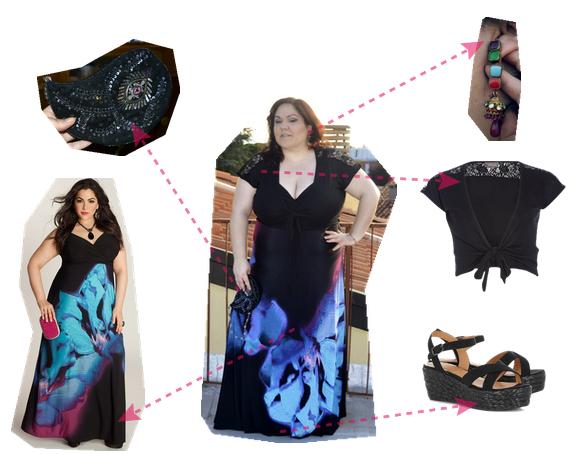 dettagli outfit plus size con maxidress
