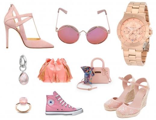 acessórios femininos na cor rosa quartzo tendência Pantone