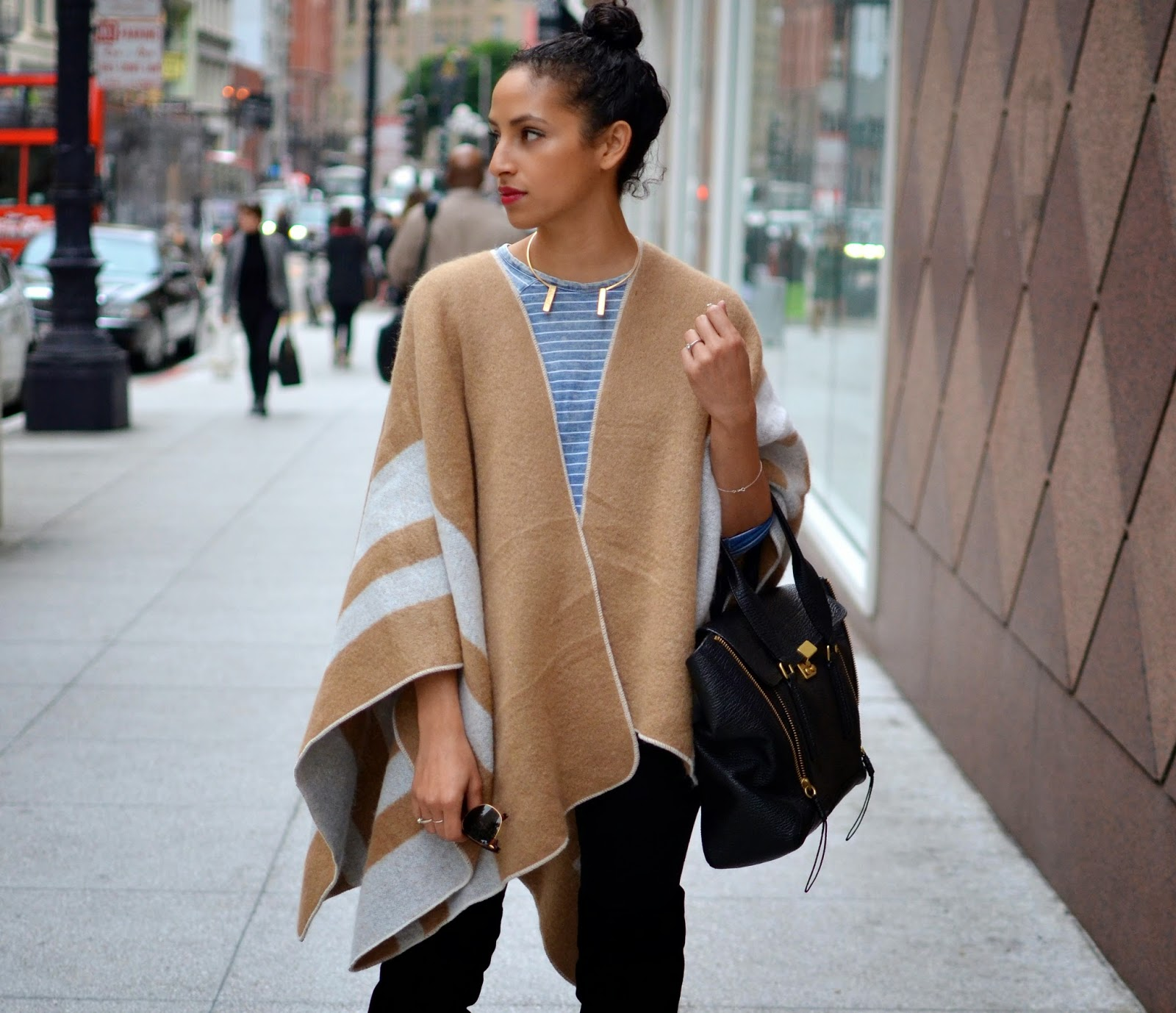 Allergic to Vanilla Style blog- SF style, camel cape, zara cape, burberry cape, 2Bandits necklace