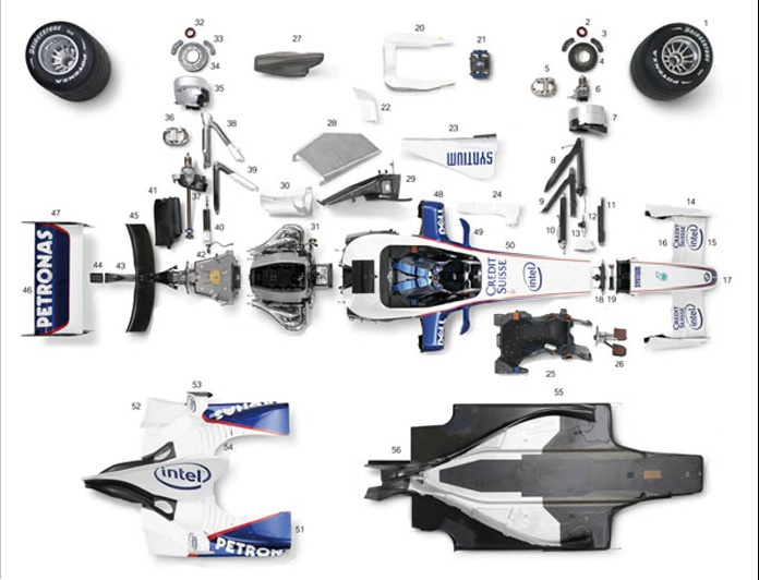 Formula 1 Race Car Exploded View