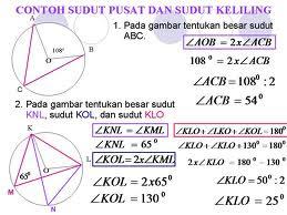 Berikut contoh soal yang berhububungan dengan sudut pusat dan sudut