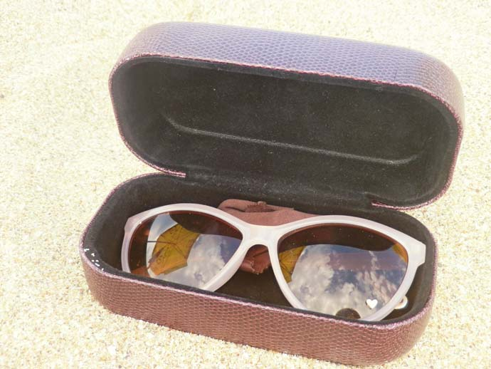 Retro sunglasses from H&M in a plum colored snakeskin case from Oviesse on the beach