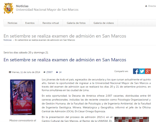 Ingresantes Examen UNMSM 2014 sabado 21 de Setiembre Modalidad Selección Ordinaria