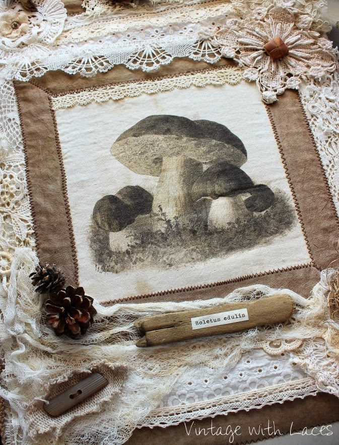 Mushroom Collage - Vintage with Laces
