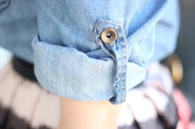 Chambray Sleeve Rolled Up