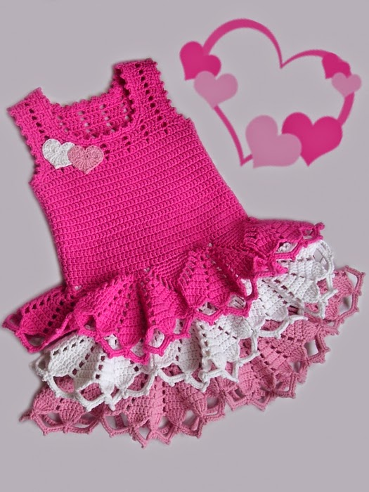 Free Crochet Pattern For Girl Dresses : DIY Crochet Valentine Dress with Free Pattern - HANDY DIY
