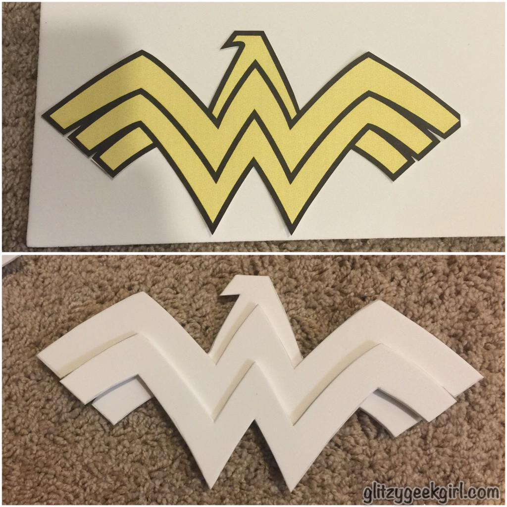 Omglitzy tutorial wonder woman cosplay costume the first thing i did was make patterns of all the armor most of the patterns i drew myself onto newspaper but the w logo for the chest piece i printed pronofoot35fo Gallery