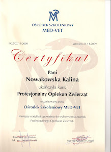 Certyfikat opiekun zwierząt
