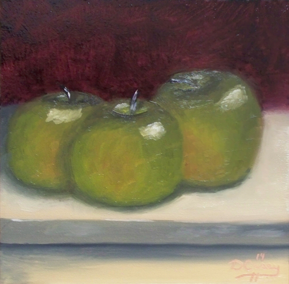 141007 - Green Apples 001a 6x6 oil on gessobord - Dave Casey - TheDailyPainter.jpg