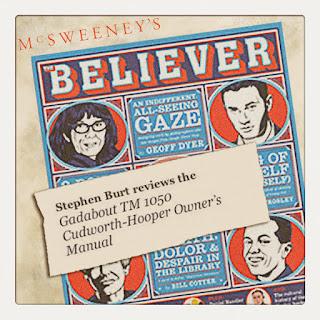 Stephen Burt Reviews Curio & Co's Gadabout TM 1050 on The Believer Magazine - Cesare Asaro and Kirstie Shepherd