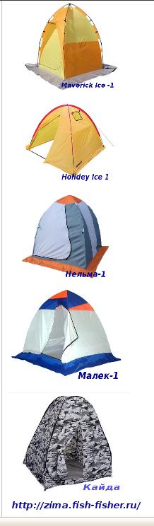 Одноместные зимние палатки для рыболовов-любителей