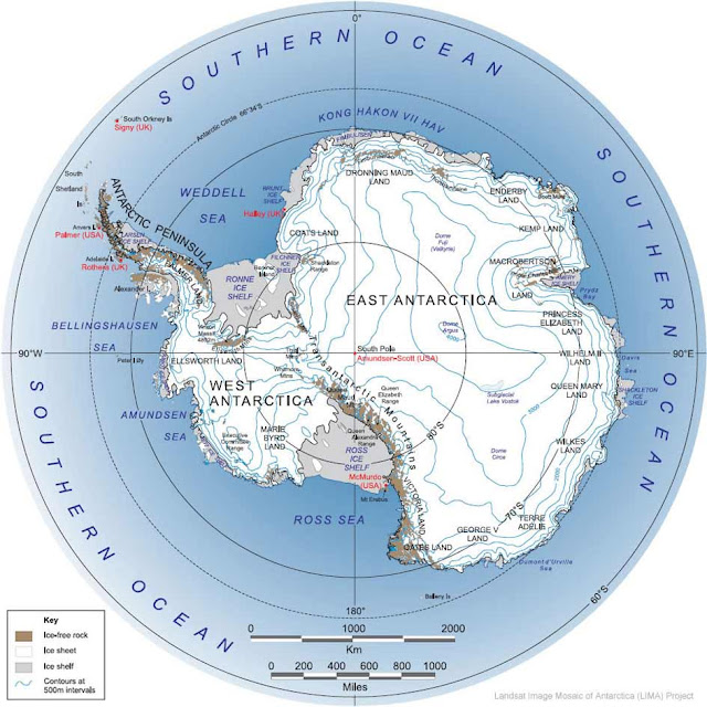Antartica Physical Map