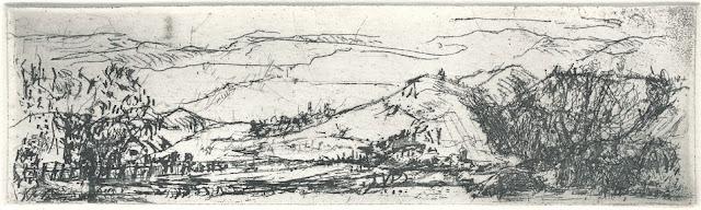 Waltraud Niedziella: Thüringer Landschaft, Ätzradierung, 2013