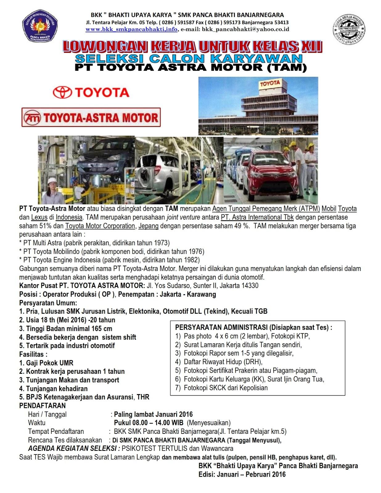 Info kerja posisi operator produksi di pt toyota astra motor