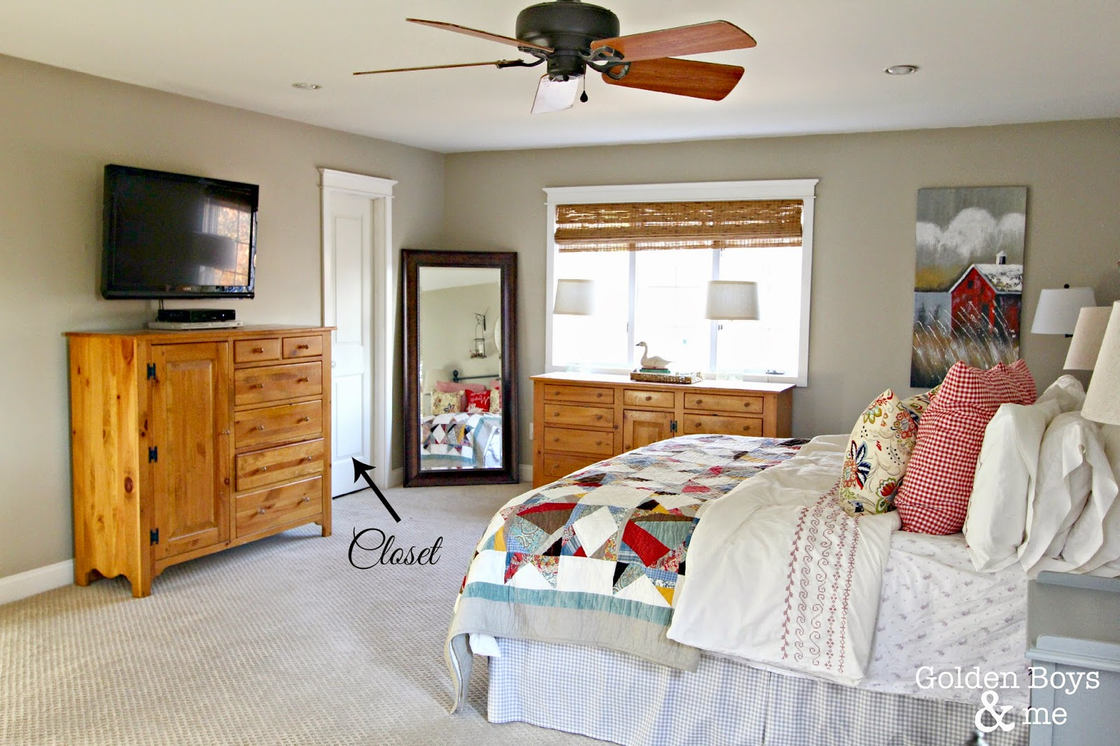Master bedroom with pine furniture and Pottery Barn quilt-www.goldenboysandme.com