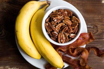 banana, bacon, and pecan pancakes