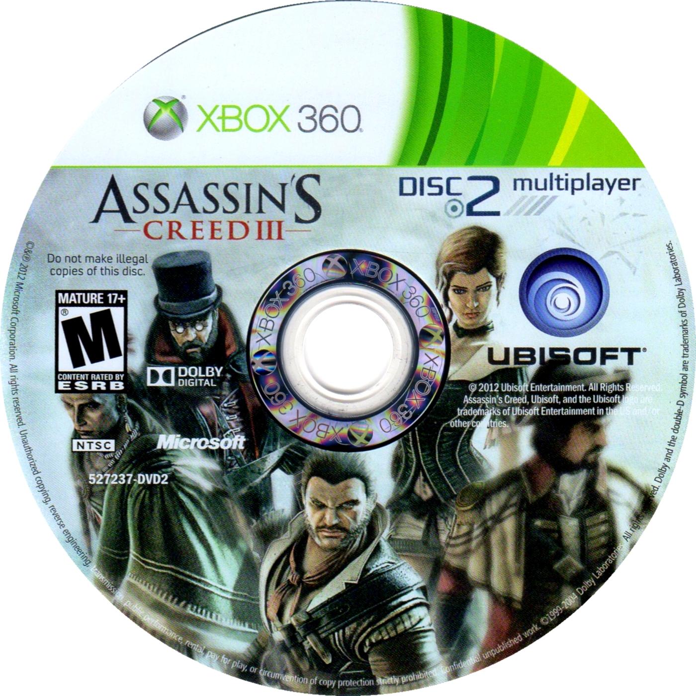 Label Assassins Creed III Disc 2 Xbox 360