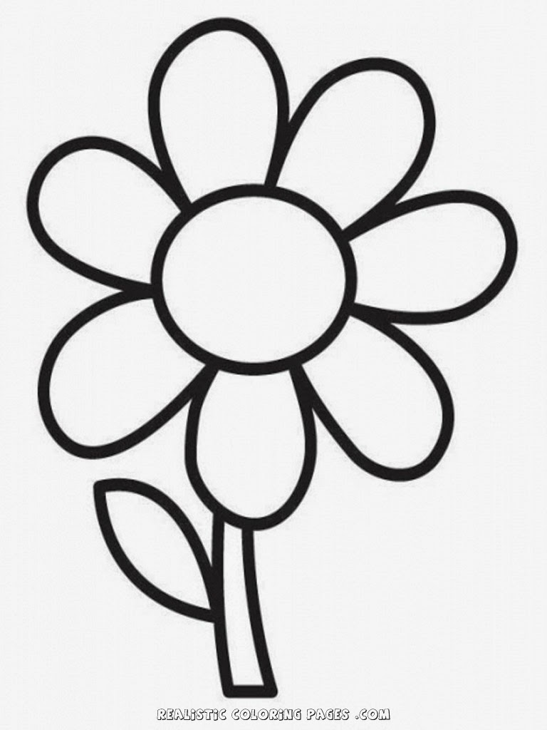 Free Simple Flower Coloring Pages Easy Flower Coloring Pages
