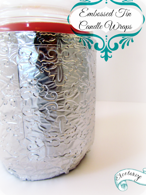 embossed tin, candle wraps, tin candles