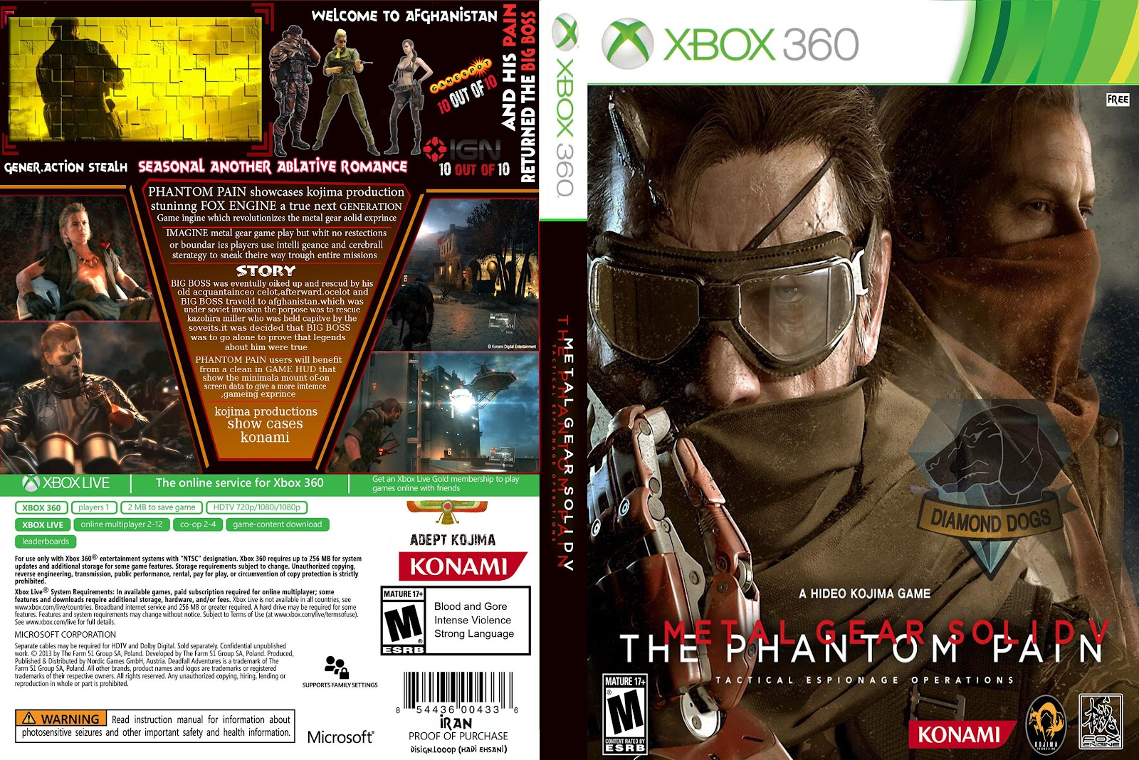 Capa Metal Gear Solid V The Phantom Pain Xbox 360