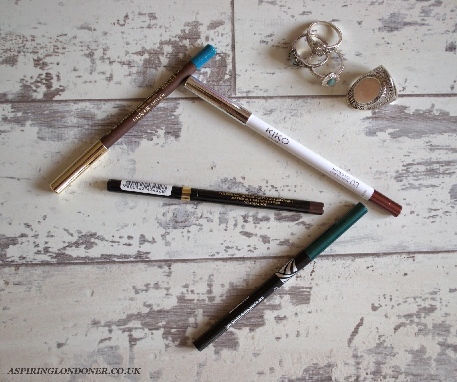 Colour Eyeliners For Brown Eyes ft Kiko, Loreal, Max Factor - Aspiring Londoner