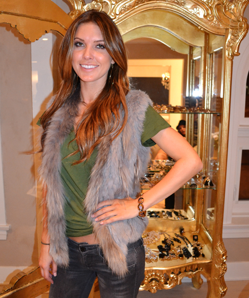 Audrina Patridge wearing a glass bracelet by Jenny Dayco