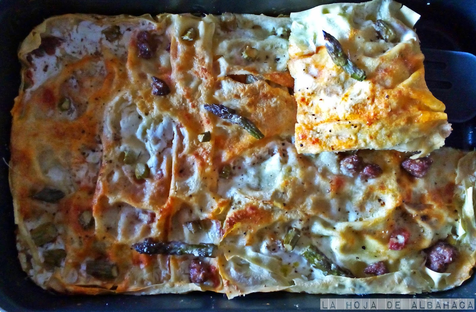 lasaña, pasta fresca,lasaña light,HealthyPasta, esparragos, asparagus