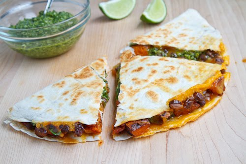 Sweet Potato and Black Bean Quesadillas with Swiss Chard Pesto on ...