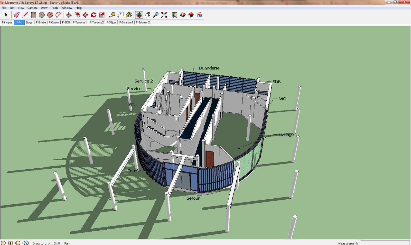 prospettiva accidentale villa savoye modelli 3d per sketchup. Black Bedroom Furniture Sets. Home Design Ideas
