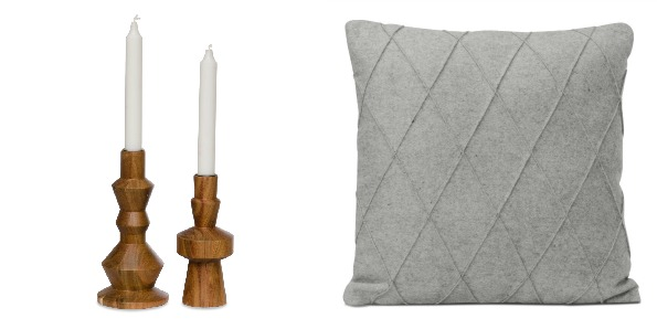 Fashion for home Studio Acacia candlelight set and a Studio Light Grey Felt Cushion