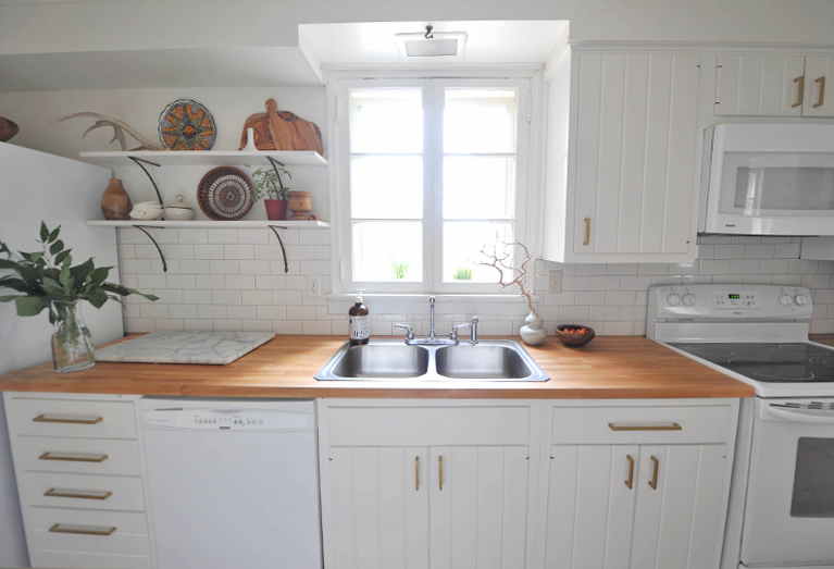 Modern White Eclectic Kitchen DIY Renovation Before and After IKEA butcher block countertop