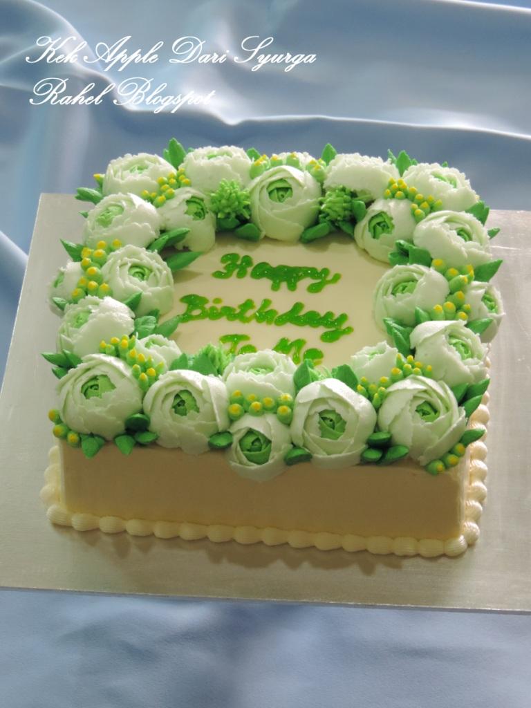 Kek Apple Dari Syurga deco bunga2 cinta