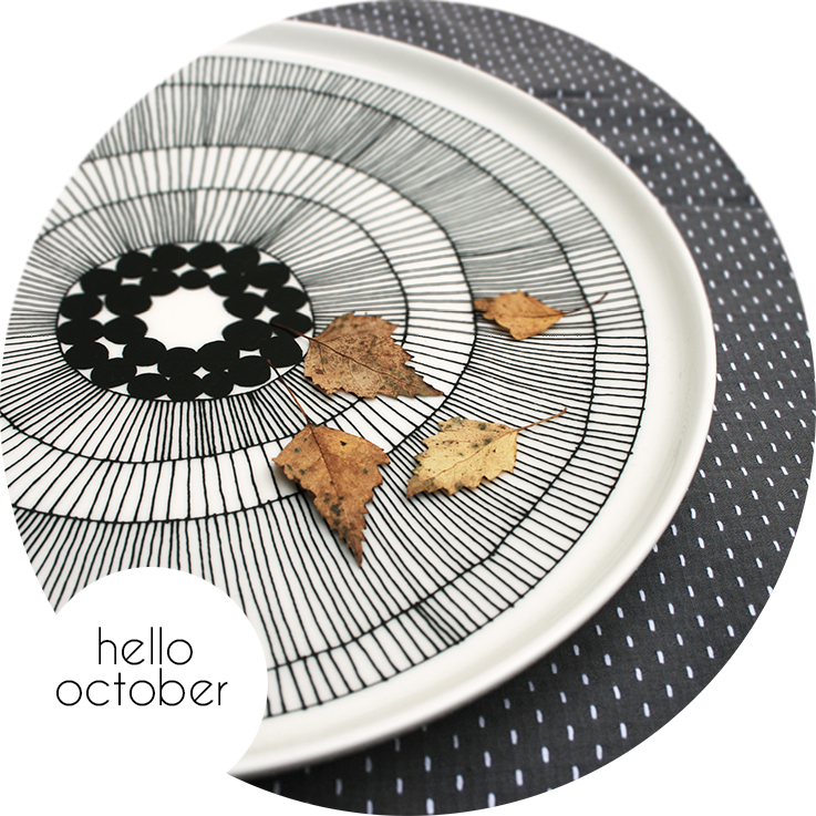 Yellow leaves and Marimekko plate